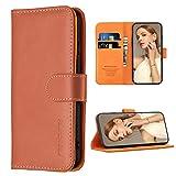 FMPCUON Hülle Hülle Kompatibel mit Huawei P40 Lite 5G - Premium PU Leder Brieftasche Handyhülle - Handy Lederhülle Cover Schutzhülle Etui Tasche Book Klapp Style Handytasche, Braun