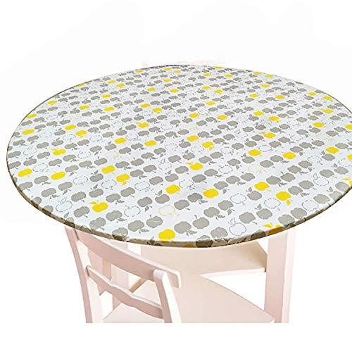 Olgaa - Mantel redondo de franela elástica para mesa, impermeable, con bordes de franela (35 – 43 pulgadas de diámetro)