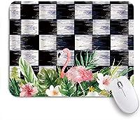 PATINISAマウスパッド ホワイトブラックモザイクとピンクフローラルフラミンゴワイルドライフグリーンプラントフローラル ゲーミング オフィ良い 滑り止めゴム底 ゲーミングなど適用 用ノートブックコンピュータ