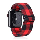 Elastic Watch Band Compatible With Apple Watch 38mm 40mm 42mm 44mm,Stretch Elastics Wristbelt Replacement Wristband For iWatch Series 5/4/3/2/1(Red Plaid,42MM/44MM)