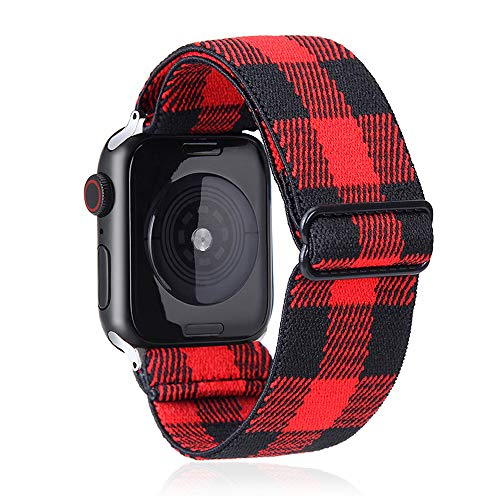 Elastic Watch Band Compatible With Apple Watch 38mm 40mm 42mm 44mm,Stretch Elastics Wristbelt Replacement Wristband For iWatch Series 6/5/4/3/2/1(Red Plaid,38MM/40MM)