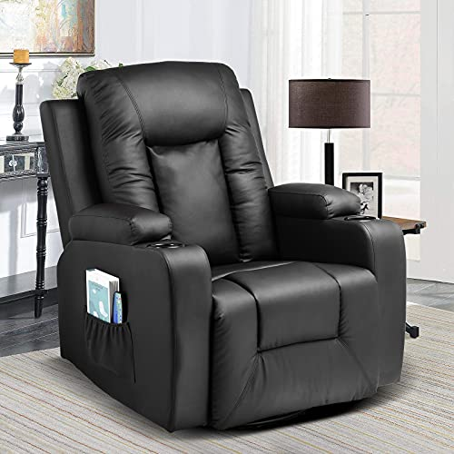 Comhoma Leather Recliner Chair Modern Rocker with Heated Massage Ergonomic Lounge 360 Degree Swivel Single Sofa Seat with Drink Holders Living Room Chair (Black)