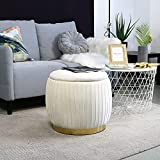 YYW HOME Round Velvet Storage Ottoman Vanity Stool Chair Foot Rest Stool with Metal Band (Cream)
