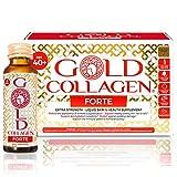 Gold Collagen Forte | El Complemento Antienvejecimiento de Colágeno Líquido| Bebida de colágeno marino con ácido hialurónico, antioxidantes, vitaminas y minerales para piel, cabello y uñas | 10 días