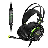 Gaming Headset, ZIDLI ZH7 7.1 Surround Sound Earphone with LED Light Noise Isolating Over Ear Headphone with Mic