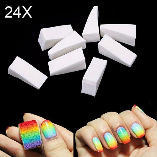 Hrph 24 Piezas gradiente Nails esponjas blandas de color de fundido de...