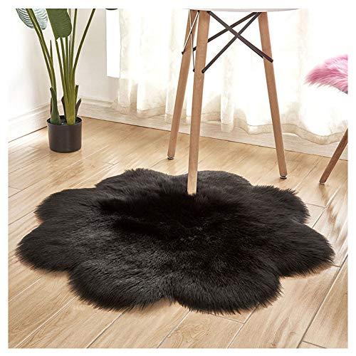 DaiHan Tapis en Forme de Fleur - Tapis en Peau de Mouton synthétique, Fluffy Soft Longhair Décoratif Coussin de Chaise Canapé Natte Noir diamètre 90cm
