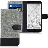 kwmobile Hülle kompatibel mit bq Aquaris VS Plus - Kunstleder Wallet Hülle mit Kartenfächern Stand in Grau Schwarz