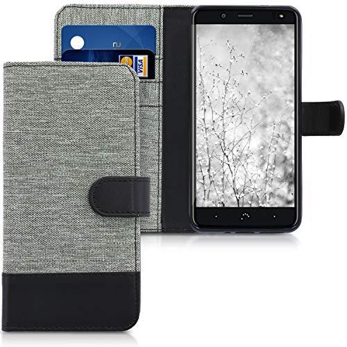 kwmobile Wallet Hülle kompatibel mit bq Aquaris VS Plus - Hülle mit Ständer - Handyhülle Kartenfächer Grau Schwarz