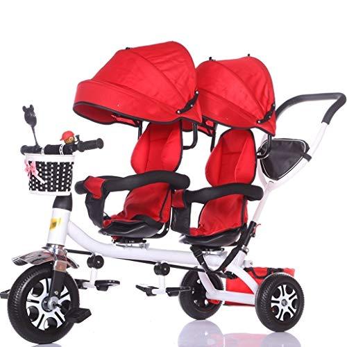 ZJJ Sillas de Paseo Cochecito de bebé, Cochecito de bebé, Carro de Viaje Triciclo Doble for niños Carro de bebé Gemelo Cochecito Grande Toldo extendido Carritos y sillas de Paseo (Color : D)
