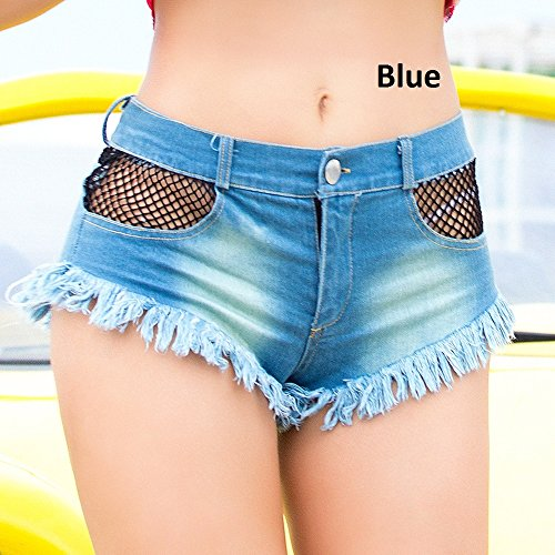 Chenyuying Sexy Denim Hot Shorts Bikini Sexy Jeans Shorts Low Rise Fashion Design Jeans Playa Micro Mini Short Erotic Culb Wear (Color : Blue, Size : S)
