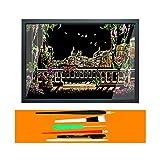 YWXKA Art Ensemble Scratchboard, Arc-en-Peinture Bloc à Dessin, Bricolage City Night View avec 6 Outils et...