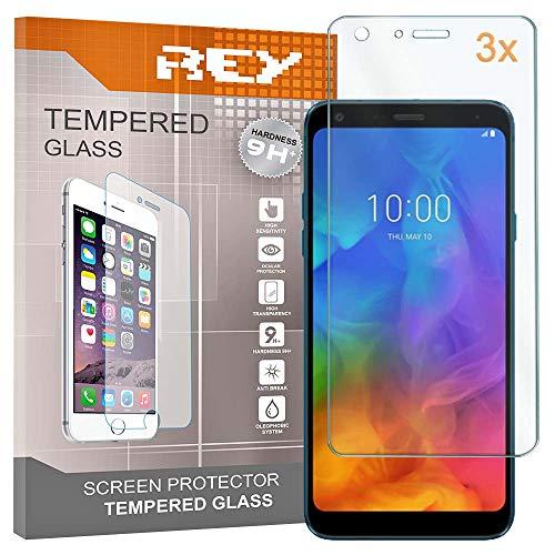 REY Pack 3X Panzerglas Schutzfolie für LG Q7 / Q7 Plus/LG Q7ÃŽ±, Bildschirmschutzfolie 9H+ Festigkeit, Anti-Kratzen, Anti-Öl, Anti-Bläschen