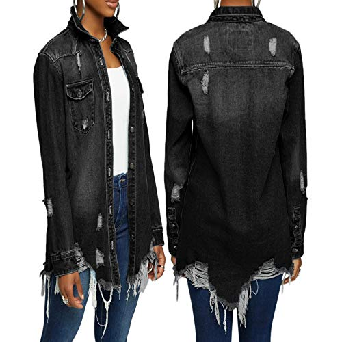 Koitniecer Womens Denim Coats and Jackets Long Sleeve Button Down Ripped Jean Jacket Oversize Denim Outerwear (Black-A, L)