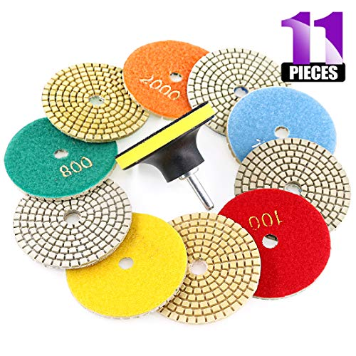 Swpeet 11Pcs Diamond Polishing Pads Kit, 10Pcs 3 Inch Wet/Dry Polishing Kit Polishing pads Kit with 1Pcs 3 Inch Yellow Backer Pad for Granite Marble Stone Glass Quartz Polishing