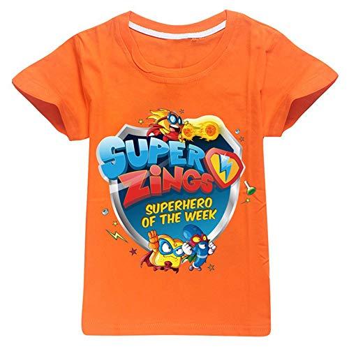 Superzings Maglietta Bambini Vestiti di Estate Girocollo Manica Corta Stampa Moda T-Shirt Ragazzi e Ragazze (Color : Orange01, Size : Height-100cm(Tag 100))