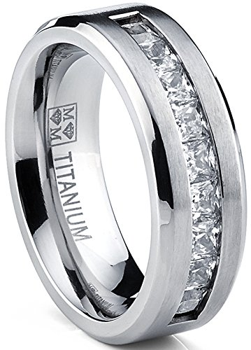 Metal Masters Co. Titanium Men's Wedding Band Engagement Ring with 9 Large Princess Cut Cubic Zirconia Size 9.5