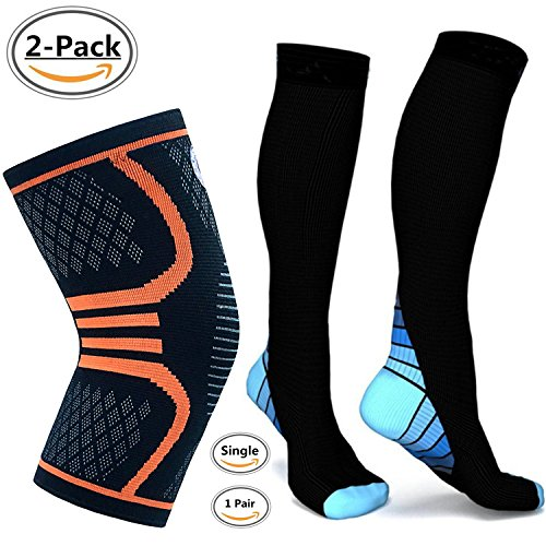 Alipapa Compression Socks And Knee Compression Sleeve Support for Men & Women,Running, Jogging, Sports, Joint Pain Relief, Arthritis and Injury Recovery,Boost Stamina, Circulation, Recovery 2 Pack.