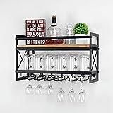 MBQQ Wine Rack Stemware Glass Rack,Industrial 2-Tier Wood Shelf,24in Wall Mounted Wine Racks with 6...