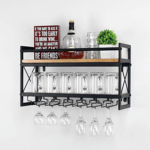 MBQQ Wine Rack Stemware Glass Rack,Industrial 2-Tier Wood Shelf,Wall Mounted Wine Racks with 5 Glass Holder for Wine Glasses,Mugs,Home Decor,Black