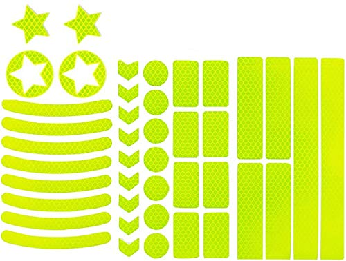 HIQE-FL 42 Stück Reflektoren Aufkleber Sticker,Reflektor Sticker Fahrrad,Reflektor Band,Reflektierende Aufkleber,Reflexfolie Selbstklebend,für Kinderwagen Fahrrad und helme (Gelb)