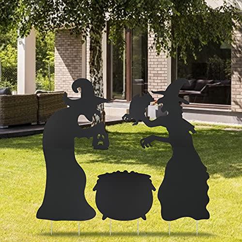 DKINY 5 Pcs Halloween Hexen Silhouette Schilder, Halloween Hof Garten Outdoor Dekorationen, Schwarz Kessel und Furchtsame Hexen Gartenstecker mit 10 Stöcken, Halloween Deko für Außenbereich Rasen