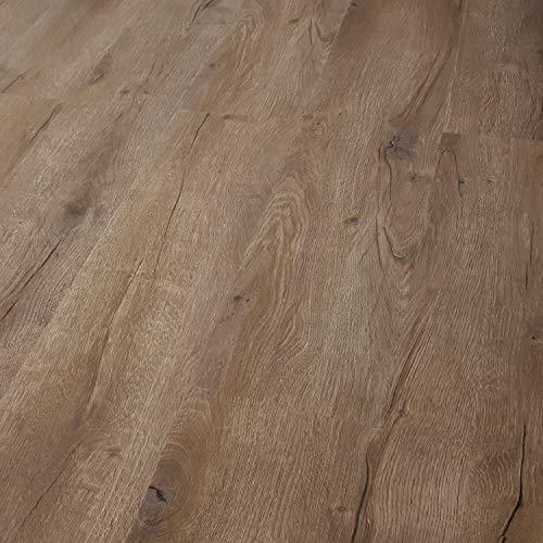 TRECOR Klick Vinylboden RIGID-SPC Designboden Massivdiele 5,0 mm stark mit 0,50 mm Nutzschicht - Sie kaufen 1 m² - WASSERFEST - Bitte gewünschte Menge eintragen (Vinylboden, Prestige Eiche Dunkel)
