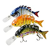 Rose Kuli Fishing Lures for Bass Multi Jointed Lifelike Crankbait 3 Pack Fishing Tackle Kits