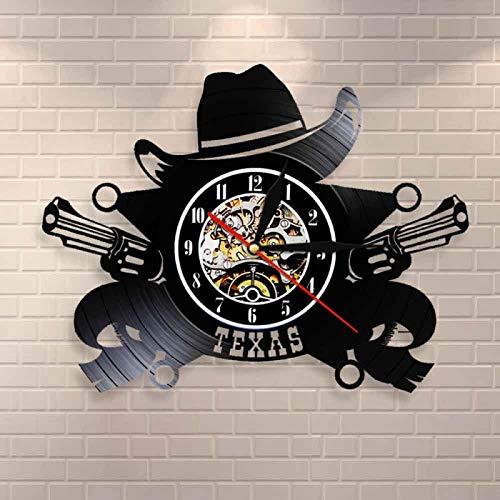 CVG Men Wall Decor Western USA Skyline Symbol Reloj de Pared con Disco de Vinilo Reloj de Pared de Vaquero de Texas Wild West Vintage Rodeo Revolvers Western Wall Decor Regalos geniales