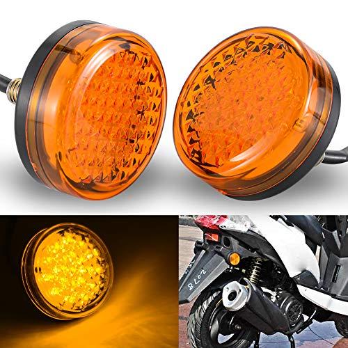 NATGIC Témoin Lumineux de Moto Rond 24 LED Réflecteurs Universels de Moto Feux Arrière Feux de Position de Frein Moto - Lentille Ambre/jaune (lot de 2)