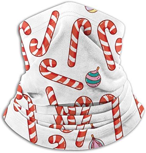 Linger In Bastones Dulces navideños con patrón de Bolas Calentador de Cuello Sombreros Bufanda Facial Unisex