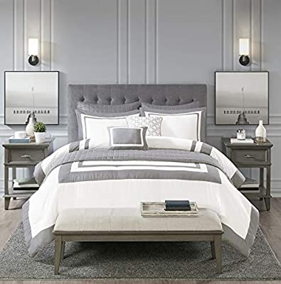 """Madison Park Heritage Comforter Coverlet Combo, Color Block Design Modern Luxe All Season Down Alternative Bed Set with Matching Shams, Decorative Pillows, King/Cal King(104""""x92""""), Grey 8 Piece"""