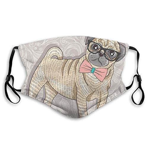 Maske schutzmaske Einstellbare warme Maske Bandana Mops Hund mit Brille und Fliege mundschutz Maske