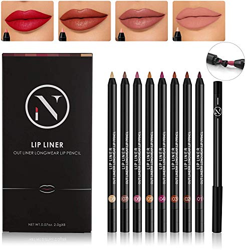 7 Colors Matte Lip Liner Set And 1PCS Concealer Pencil, Long Lasting Waterproof Make Up Lip Liners for Women with 1PCS Full Coverage Foundation Concealer for Eye Dark Circles Spot & Imperfections