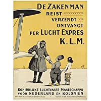 KLMオランダ航空Amerikaontdek je met KLM Classic Wall Canvas Painting Vintage Poster Home Bar Decor Gift-60x90 cm x1 No Frame
