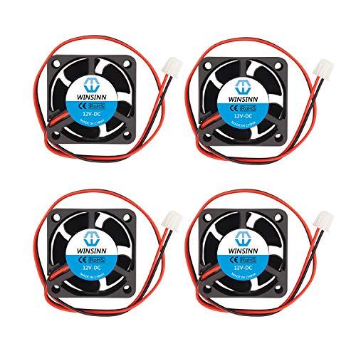 WINSINN Ventilador de 40 mm, 12 V, sin escobillas, 4020, 40 x 20 mm, extrusor/inversor de impresora 3D, alta velocidad (paquete de 4 unidades)