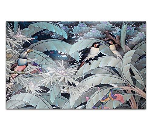 Acrylglasbilder 80x50cm Vogel Dschungel Wald Blätter Linien abstrakt Kunst Acryl Bilder Acrylbild Acrylglas Wand Bild 14H2287