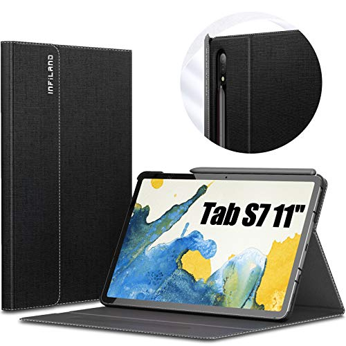 INFILAND Case for Samsung Galaxy Tab S7 11 inch (T870/T875) 2020, Multi-angle Front Support Shell PU Leather Cover Stand Case with Auto Sleep/Wake Function,Black