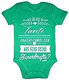 HARIZ Baby Body Kurzarm Tante Superkräfte Tante Spruch Patentante Baby Bodies Weihnachten Inkl. Geschenk Karte Frosch Quietsch Grün 12-18 Monate
