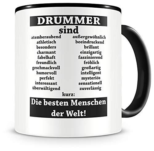 Samunshi® Drummer sind Tasse Beruf Geschenk Kaffeetasse Teetasse Kaffeepott Kaffeebecher Becher Drummer sind. 300ml schwarz