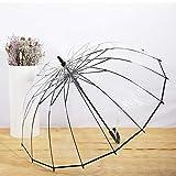 Parapluie Transparent, Parapluie Cadeau À Poignée Incurvée, Parapluie De Pluie pour Femmes Résistant Aux Intempéries, Le Logo Personnalisé Est Acceptable (8 Os, 16 Os),16Bones