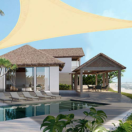 Ankuka Triangle Sun Shade Sail Outdoor Water Resistant Garden Patio Yard Sunscreen Awning Canopy 98% UV Block With Free Rope(3x3x3m)
