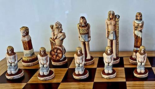 Juego de ajedrez de Piedra de mármol de Inglaterra, Egipto, GRUNWALD en Tablero de ajedrez de Madera, temático, ¡Cada Figura Pintada a Mano! (Egipto)