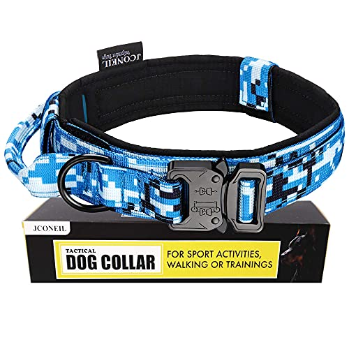 JCONEIL Tactical Dog Collar with Handle for Medium and Large Dogs-Adjustable Nylon Dog Collar with Heavy Duty Metal Buckle-1.5 Inch Wide Blue Camo Dog Collar-Compact for Trainning and Service