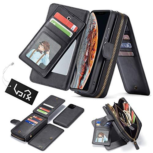 Urvoix voor iPhone 11 Pro Case Premium Lederen Portemonnee Handtas Afneembare Magnetische Cover met Koppelingsriem Rits Flip Card Houder voor iPhone 11 Pro(5.8-inch Scherm) Telefoonhoesje, Zwart