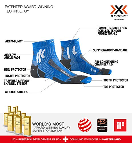 X-Socks Unisex – Adult Socken Strümpfe MARATHON ENERGY SOCKS laufsocken sportsocken herren damen, twyce blue/anthracite, 35/38, XS-RS10S19U