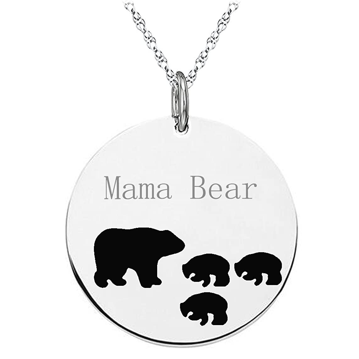 Mama Bear Necklace with 3 Cubs Sterling Silver Round Engraved Pendant for Women Girl Mom Christmas Gift