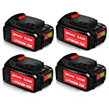 4Pack DCB205 20V MAX 5.0Ah Lithium Ion Compatible with Dewalt 20V Battery DCB200 DCB204 DCB206 DCB205-2 DCB201 DCB203