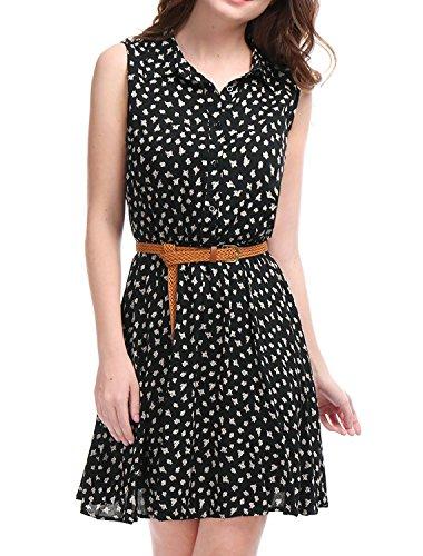 Allegra K Vestido Camisero Estampado Floral Sin Mangas con cinturón Medio Tapeta por Encima De La Rodilla para Mujeres Negro(Estampado de Margarita) M