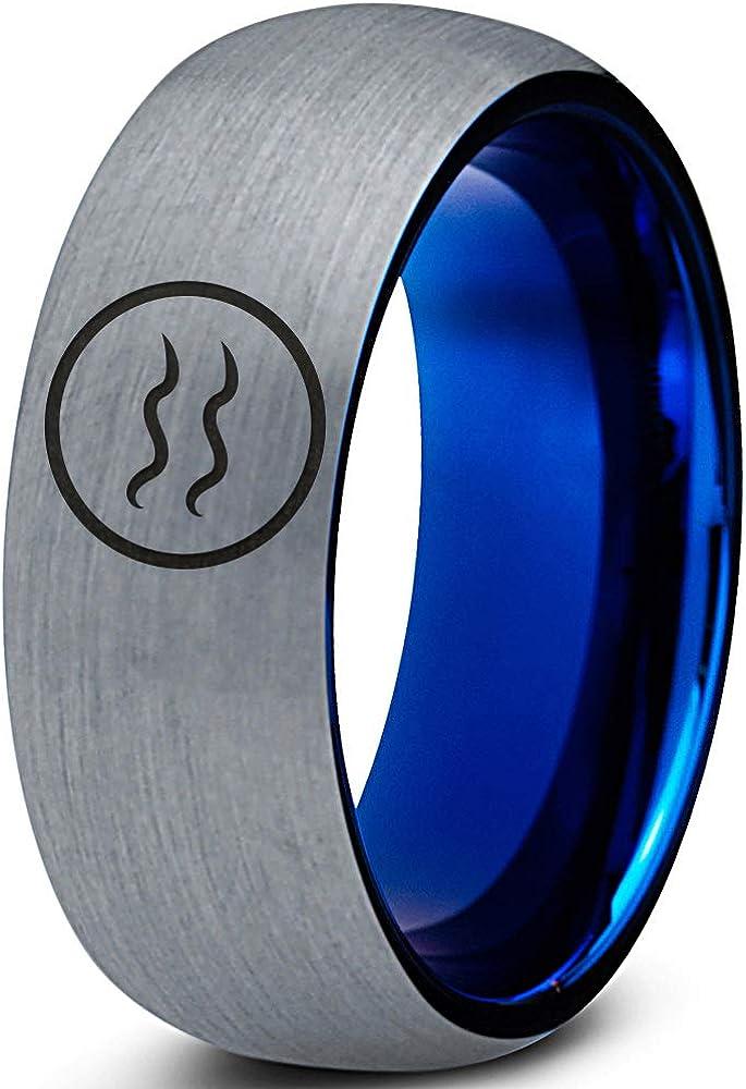 オンライン限定商品 Horoscope Zodiac Astrology 最新 Cute Aquarius Ring Band - Tungsten 8m